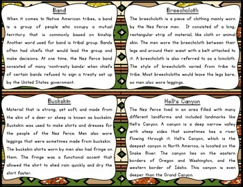 Nez Perce Reading Fluency and Comprehension Task Cards