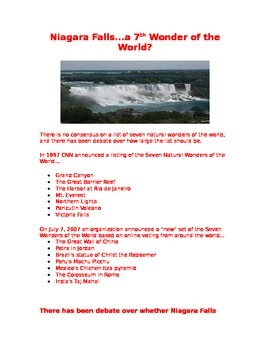 Niagara Falls  A 7th Wonder of the World?