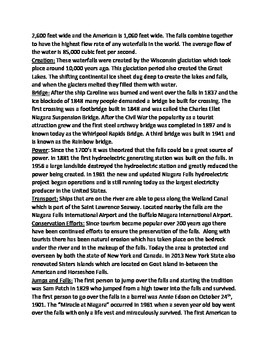 Niagara Falls - Lesson Review Article Facts Questions Vocabulary true/false