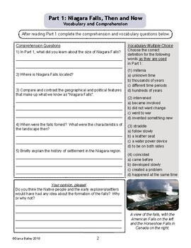 Niagara Falls Then and Now Informational Texts, Activities Grades 7-8