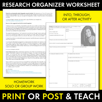 Nic Stone Author Study Worksheet, Dear Martin, Easy Biography Activity, CCSS