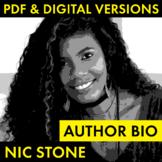 Nic Stone Author Study Biography Worksheet, Dear Martin, PDF & Google Drive CCSS