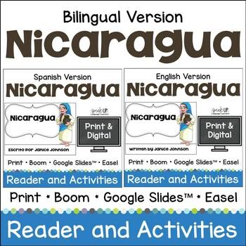 Nicaragua Reader & vocab pages in English & Spanish {Bilingual Bundle}