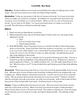 Nice Hands Lesson Plan