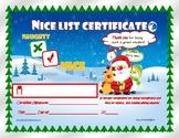 SALE!  NICE LIST Christmas Holiday Santa Certificate for Kids!