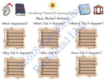 Nice Notes! History/Social Studies scaffolded notes graphic organizer