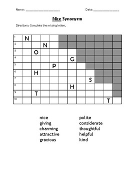 Nice Synonyms Word Search and Puzzle