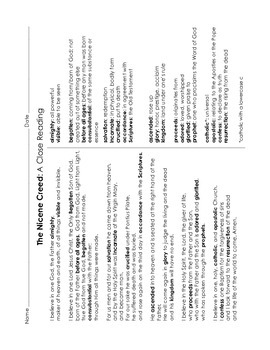 Nicene Creed Prayer Activity Packet
