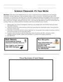 Niche Business Cards Classwork Activity