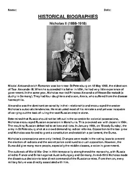 Nicholas II Biography Article and (3) Assignments