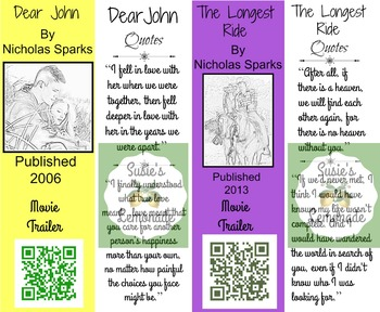 Nicholas Sparks Bookmarks with Movie Trailers QR Codes