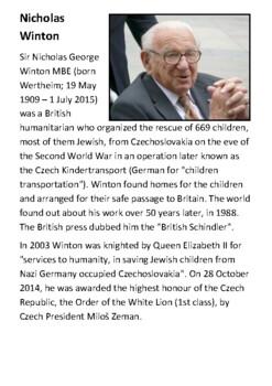 Nicholas Winton (The British Schindler) Handout