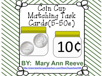 Nickel Coin Cup Matching Task Cards 5-50 Cents FREEBIE