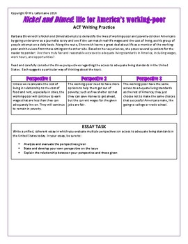 Nickel and Dimed by Barbara Ehrenreich ACT Writing Prompt