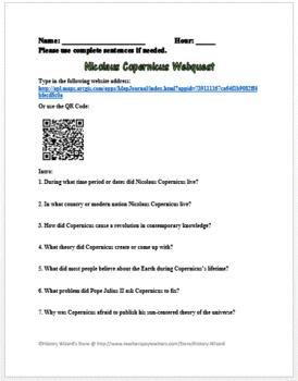 Nicolaus Copernicus Webquest