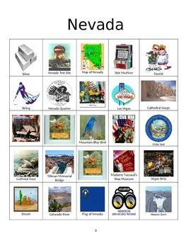 Nevada Bingo:  State Symbols and Popular Sites