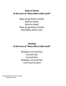 Niftty Songs Anyone Can Sing Back to School and Reading is Fun