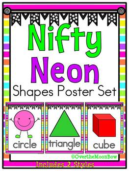Nifty Neon Bright Stripes Shapes Poster Set