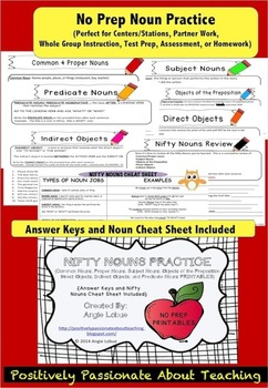 Noun Printables {Includes Answer Keys, & Noun Cheat Sheet}