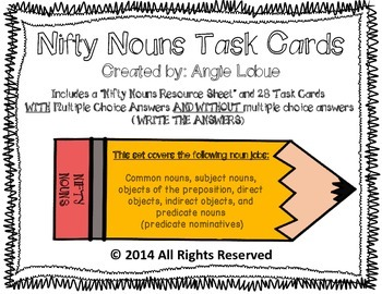 Nouns Task Cards: 28 Task Cards (WITH and WITHOUT Multiple Choice Answers)
