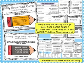 Noun and Verb Bundle: {Task Cards and Cheat Sheets}