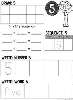 Nifty Numbers Book --- Numbers 1-10 --- Draw, Write, Color and Eat!