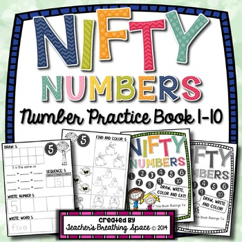 Nifty Numbers Book --- Numbers 1-10 --- Draw, Write, Color