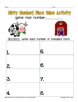 Nifty Numbers Place Value Activity
