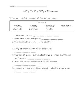 Nifty Thrifty Fifty Word Definition Worksheets