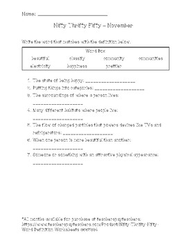 Nifty Thrifty Fifty Word Definition Worksheets FREE SAMPLE