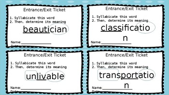 Nifty Thrifty Fifty or Multi-syllabic Word Study Entrance/Exit Tickets