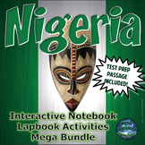 Nigeria Interactive Notebook and Lapbook Activities with ELA Test Prep Passage