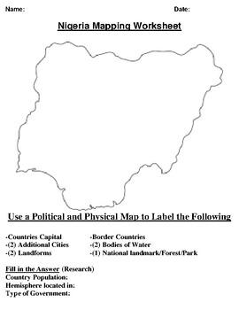 Nigeria Mapping Worksheet