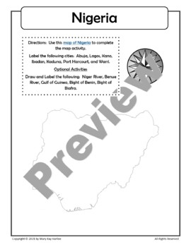 Nigeria:  Worksheets, Maps, and Journaling Pages