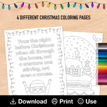 Twas The Night Before Christmas Coloring Worksheets Teaching Resources Tpt