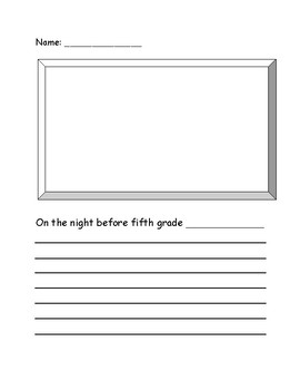 Night Before Fifth Grade Activity Sheet