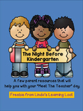 Meet The Teacher Day Parent Freebie Resource: The Night Before Kindergarten