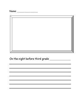 Night Before Third Grade Activity Sheet