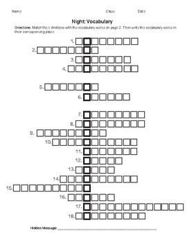 Night By Elie Wiesel Vocabulary Word Puzzle