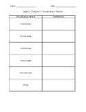 Night- Chapter 2 Vocabulary Packet