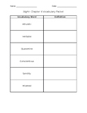 Night- Chapter 4 Vocabulary Packet