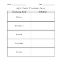 Night- Chapter 5 Vocabulary Packet