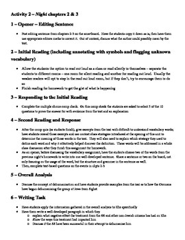 Night Chapters 2 & 3 Lesson Plan