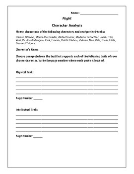 Night - Character Analysis Activity - Elie Wiesel