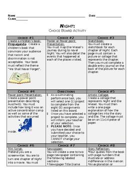 Night Choice Board Final Assessment