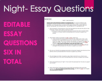 Examples Of An Essay Paper  Night  Editable Essay Questions Six Questions For Night By Elie Wiesel High School Persuasive Essay also Thesis For A Narrative Essay Editing Essay Teaching Resources  Teachers Pay Teachers Essay On My Family In English