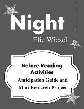 Night Elie Wiesel Before Reading Activities