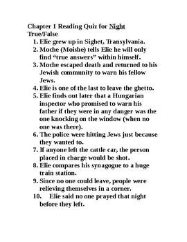 Night- Elie Wiesel- Chapter 1 Quiz