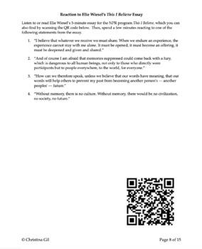 Night Elie Wiesel Unit Plan | Night Elie Wiesel Discussion Questions | Bundle