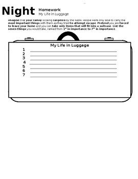 Night - Elie Wiesel - Life in Luggage Homework